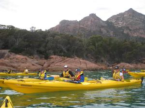 Canoeing at Coles Bay, Tasmania