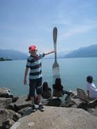 cutlery art on Lake Geneva
