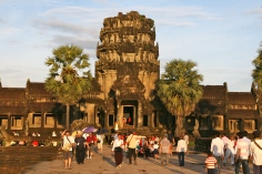 Crowds pour into Angkor Wat.