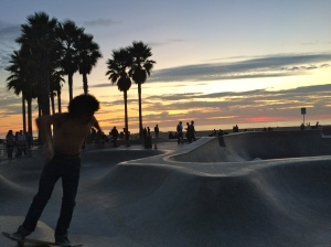 Skateboarders at Venice Beach