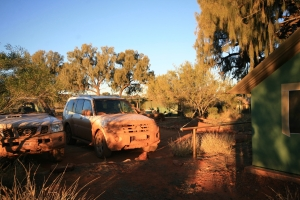 Dust-covered 4WD at Kings Creek Station