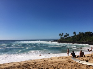 Surfers at Waimea Bay
