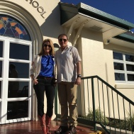 Julie Fison and Robert Favretto visiting St Peter's Catholic Primary School