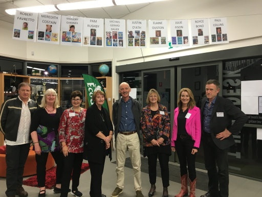Robert Favretto, Meredith Costain, Marjory Gardner, Pamela Rushby, Justin D'Ath, Elaine Ouston, Julie Fison, Paul Collins at Emmaus College, Rockhampton,