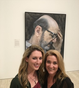 Kirsty Neilson and Julie Fison with Kirsty's 'There's no humour in darkness' (Garry McDonald) - Archibald Prize finalist 2016, Art Gallery of NSW