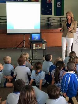 Julie Fison speaking to students at Maryborough West State School