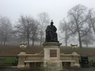 Statue of EdwardJenner in Kensington Gardens shrouded in mist. Sculpted in 1858 by William Calder Marshall, this monument was unveiled by Prince Albert, the Prince Consort, in Trafalgar Square. The statue was moved to Kensington Gardens in 1862. Jenner was a doctor from Gloucestershire who invented the smallpox vaccine.