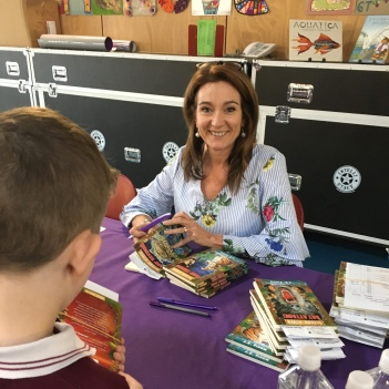 Julie Fison signing books at Ashgrove State School