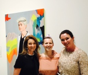 Julie Fison and Elizabeth Blackwood with Archibald 2017 finalist Kim Leutwyler and her painting: Heyman