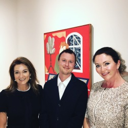 Julie Fison and Elizabeth Blackwood with Archibald 2017 winner Mitch Cairns and his painting: 'Agatha Gothe-Snape'
